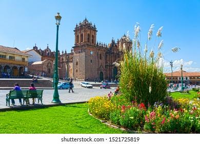 Cusco, Peru - April 27, 2013: the Plaza de Armas (English: Main Square)