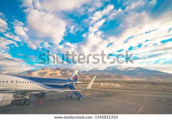 Cusco, Peru - August 15th, 2018: A Latam Airlines plane parked in Alejandro Velasco Astete International Airport in Cusco, Peru