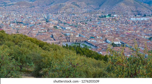 CUSCO / PERU, August 16, 2018: Overview of the city of Cusco from the ruins of Sacsayhuaman, with Plaza de Armas in the foreground