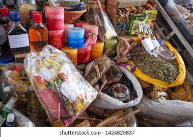 Cusco, Peru - Circa March 2015: Dried llama fetuses  at the market in Cusco, Peru