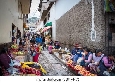 CUSCO, PERU - CIRCA MARCH  2015: Unidentified people at the market in Cusco, Peru
