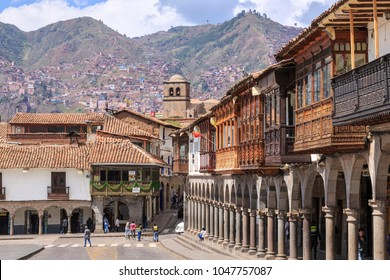 CUSCO, PERU -  DECEMBER 12, 2017: Ancient buildings in the Plaza de Armas of Cusco city which is located in Sacred Valley of the Incas.