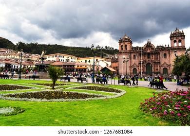 Cusco, Peru, December 26, 2018: Cathedral in Plaza de Armas