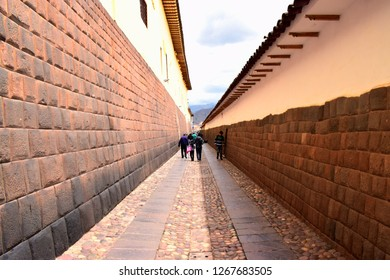 Cusco, Peru, December 26, 2018: Historical street near to plaza de armas