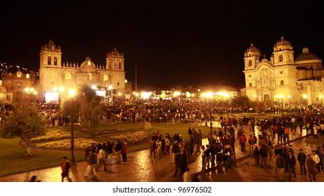 CUSCO , PERU - FEBRUARY 10: Peruvians participated in a music concert to celebrate Carnival before lent in Plaza de Armas on February 10 2009 in Cusco, Peru.