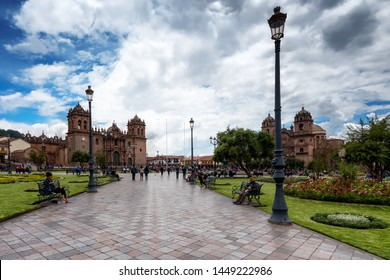CUSCO, PERU - JAN 23: Plaza de Armas in Cusco, Peru on January 23, 2017. The square is the city's historic center and architecture and is daily flooded by tourism.