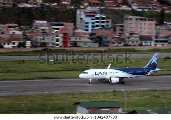 CUSCO, PERU - JAN 25: LAN Airline taking off at Cusco Airport on January 25, 2017.