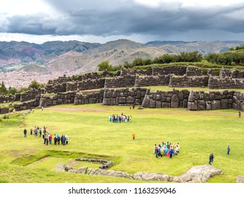 Cusco, Peru - January 3, 2017. Views of the tourists in the Sacsayhuaman fortress