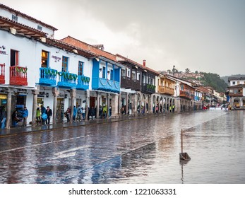 Cusco, Peru - January 6, 2017. View of a side of the Plaza de Armas square in a rainy day