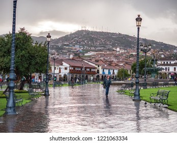 Cusco, Peru - January 6, 2017. View of the Plaza de Armas square in a rainy day
