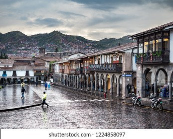 Cusco, Peru - January 7, 2017. View of a side of the Plaza de Armas square in a rainy day