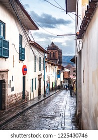 Cusco, Peru - January 7, 2017. View of Suecia street in Cusco downtown close to la Plaza de Armas square