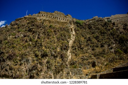Cusco, Peru - July 12, 2018: Ruins of the ancient Inca fortress in Ollantaytambo in the Sacred Valley of Cusco. Ollantaytambo was the royal property of the Inca Emperor Pachacutec.
