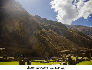 Cusco, Peru - July 12, 2018: Inca terraces of the ancient Inca fortress in the village Ollantaytambo in the Sacred Valley of Cusco. Ollantaytambo was the royal property of the Inca Emperor Pachacutec.