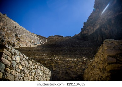 Cusco, Peru - July 12, 2018: Inca terraces of the ancient Inca fortress of Ollantaytambo in the Sacred Valley of Cusco. Ollantaytambo was the royal property of the Inca Emperor Pachacutec.