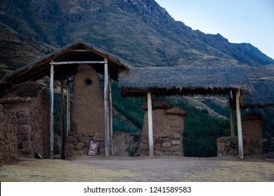 Cusco, Peru - July 12, 2018: Ancient Inca dwelling in the city of Ollantaytambo, ancient Inca fortress in the Sacred Valley of Cusco, in the middle of the mountains that form the Inca mountain range.