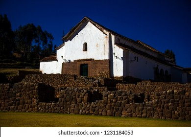 Cusco, Peru - July 2, 2018: Royal Treasury of Tupac Inca Yupanqui, preserved by an imposing Inca Wall. Monument is built on the foundations of an Inca building. Chinchero, Sacred Valley of the Incas.