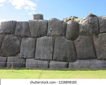 Cusco, Peru:  June 12, 2017: Stone Blocks at the Temple of Sacsayhuman outside of Cusco.