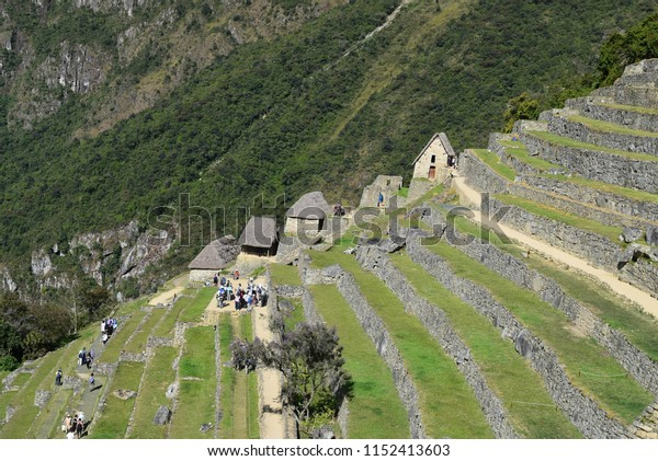 Cusco Peru, Machu Picchu Park, June 29, 2018 Stone houses without a stretch