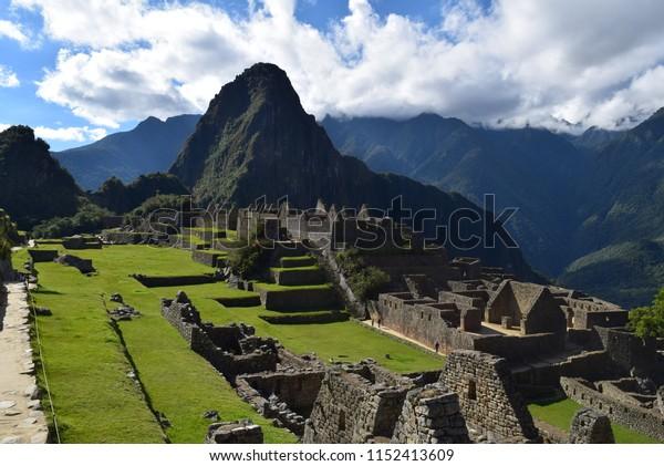 Cusco Peru, Machu Picchu Park, June 29, 2018 Stone houses without a stretch