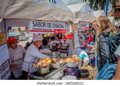 Cusco, Peru - March 08, 2015: A food seller woman at market in Cusco, Peru