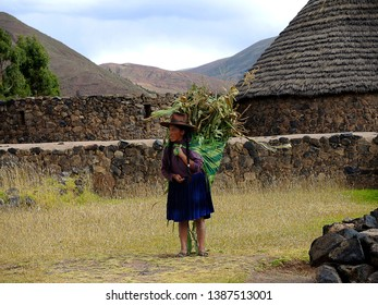 Cusco, Peru - May 12 2014: Peruvian Peru in traditional dress.