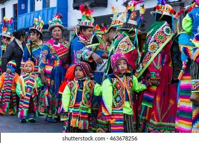 Cusco, Peru - May 13: Native people of Cusco dressed in colorful clothing in a religious celebration for Nuestra Senora de Fatima. May 13 2016, Cusco Peru.