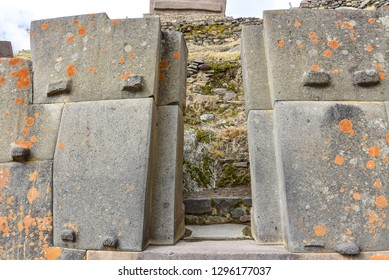 Cusco, Peru - Oct 22, 2018: Trapezoidal stone windows and doors at the Ollanytambo archaeological site in the Sacred Valley