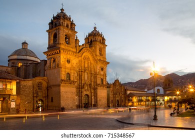 Cusco, Peru - October 06, 2015: The Catholic Church at the main plaza in the historic city centre