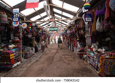 Cusco, Peru - October 7, 2015: Stalls at an artisan market in the historic city centre