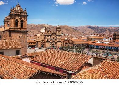 Cusco, Peru, Plaza de Armas and Cathedral Compania de Jesus Church