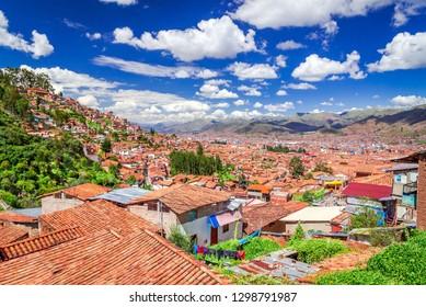 Cusco, Peru - Plaza de Armas, medieval center of Cuzco city (former capital of Inca Empire). Andes Mountains, South America.