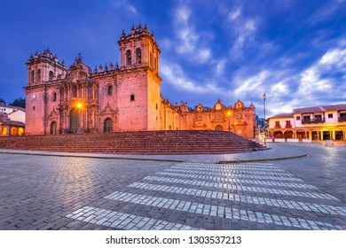 Cusco, Peru - Plaza de Armas and Catedral del Cuzco. Andes Mountains, South America.