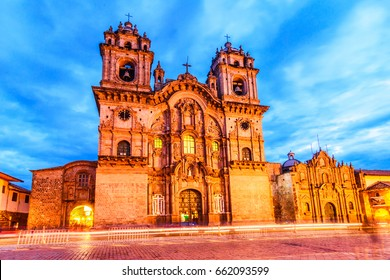 Cusco, Peru - Plaza de Armas and Church of the Society of Jesus or Iglesia de la Compania de Jesus