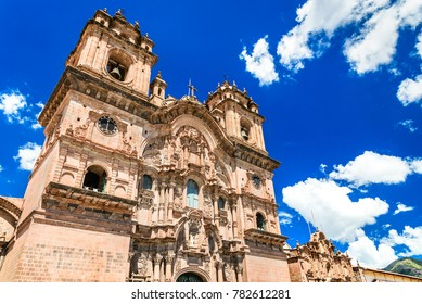 Cusco, Peru - Plaza de Armas and Church of the Society of Jesus. Andes Mountains, South America.