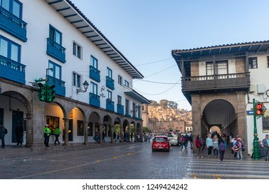 Cusco, Peru - Sep 12, 2018: View of a busy street near Plaza de Armas in Cusco city of Peru. It was the historic capital of the Inca Empire.
