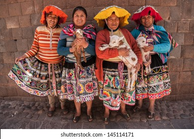 CUSCO, PERU- SEPT 19: Quechua Indian women show her traditional dresses in Cusco ,Peru on September 19, 2012, Quechua dresses are known worldwide for its beautiful embroidery.