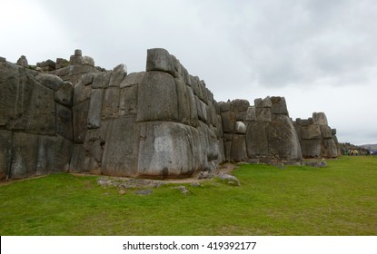 Cusco, Peru - Side view of the ancient Inca citadel Saksaywaman which was constructed with huge stones. The archeological site is a UNESCO World Heritage Site.