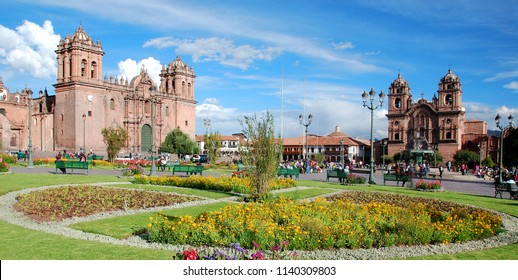 """CUSCO PERU-NOV. 25 2010: """"Square of the warrior"""" in the Inca era, this plaza has been the scene of several important events, such as the proclamation by Francisco Pizarro in the conquest of Cuzco."""