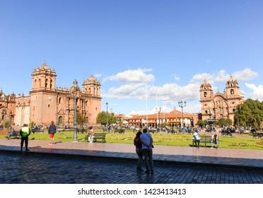 Cusco/Cusco Department/Peru - April 14, 2018: View of Plaza de Armas, historic center