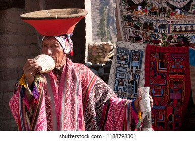 Cusco/Peru-September 27th, 2007 Musician direct Inca descendants wearing Inca costumes in the Chinchero market , UNESCO world heritage city in Cusco, Peru