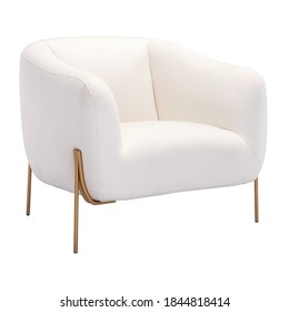 Cushy Lounge Arm Chair Isolated on White. Wrapped in Ivory Fabric Wingback Armchair. Modern Upholstered Accent Chair Gold Frame. Club Chair with Armrests. Interior Furniture. Living Room Sofa Set