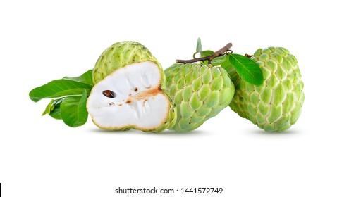 custard apple on white background