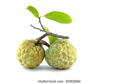 custard apple tropical fruit on a white background,Thailand