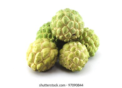 Custard apples group on white background with isolate.