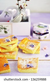 Custard Cake and violet flowers