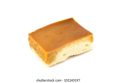 Custard chiffon cake,isolated on white