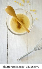 custard pudding flavored with cinnamon, mastic,vanilla and saffron
