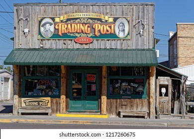 CUSTER, SOUTH DAKOTA, September 16, 2018 : The old Trading Post in Custer. A trading post was an establishment where the trading of goods took place in historic Northern America.