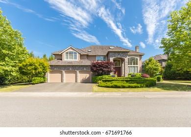 Custom built house in the suburbs, North America.